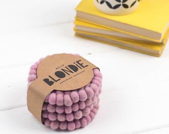 Rose Felt Ball Coaster Gift Set