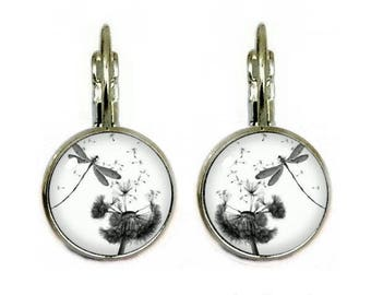 Cabochon jewelry earrings cabochon 14 mm Dragonfly & dandelion