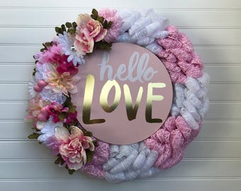 Hello Love Pink and White Deco Mesh Wreath, Hello Love Mesh Valentine's Day Wreath, Hello Love Mesh Wreath, Hello Love Pink Wedding Wreath