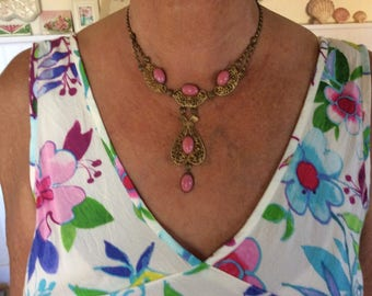 """Antique Victorian Necklace, Czech Pink Glass, Brass Filigree, """"Y"""" 10"""" from clasp to bottom Glass Dangle"""
