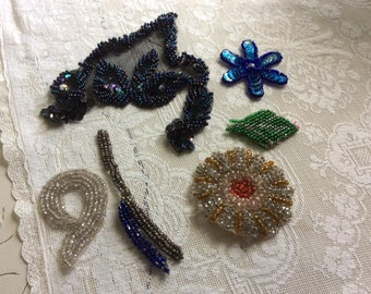 Antique and Vintage Beading and Appliqués, Lot of 6