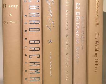 Beige Decorative Books, Beige Books, Neutral Set of 6 Books, Natural Books, Beach Books, Instant Library, Stack of Books, Greige Books