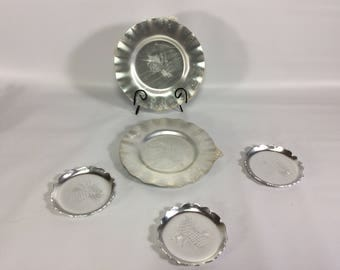 Hammered Aluminum Plates and Coasters Pinecone Design Millbrook Canada Sealed 5