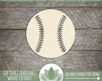 Softball Wood Shape, Laser Cut Wood Baseball, Softball Team Decor, Baseball Decor, Many Size Options