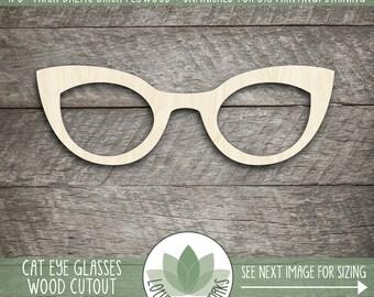 Cat Eye Glasses Wood Cut Shape, Unfinished Wood Eye Glasses Laser Cut Shape, DIY Craft Supply, Many Size Options