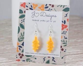 Oak Leaf Earrings, Oak Leaf Jewelry, Fall Earrings, Autumn Earrings, Glitter Leaf Earrings, Leaf Earrings, Thanksgiving Earrings, Clay Charm