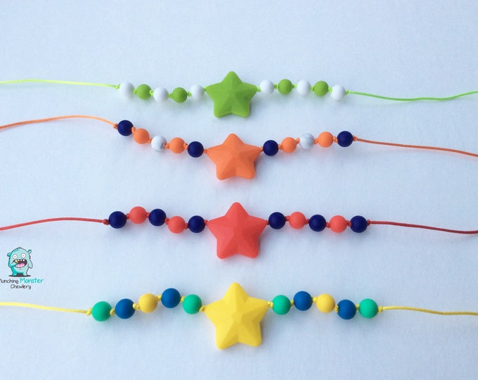 Featured listing image: Star Child's Necklace, chewable necklace, sensory necklace, ASD, SPD, ADHD, silicone beads