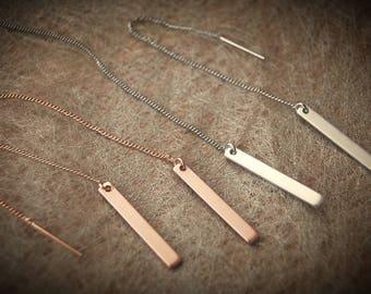 Earrings stick, matt gold, silver black or rosé