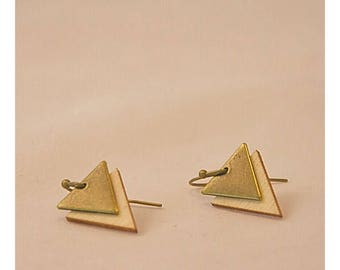Earrings triangles bronze wood