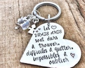 Hand Stamped French Message Keyring, Best Friend French Keyring, French Friendship Message