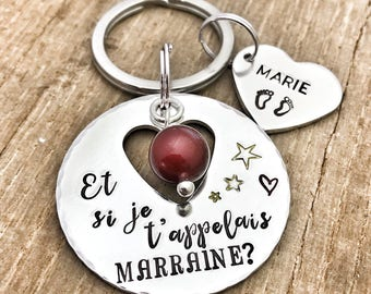 Hand Stamped Marraine Keychain, Personalised French Godmother Keyring
