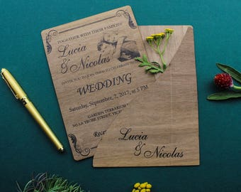 Wood wedding invitation - real wooden wedding invitation - unique custom wedding invitations with wooden cover by Ucreator