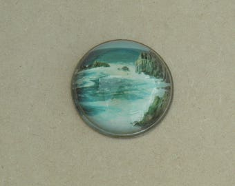 Glass Paperweight - Cliff Scene - Vintage Paperweight