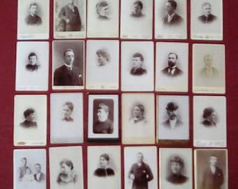 24 Portrait Cabinet Cards Circa 1800s