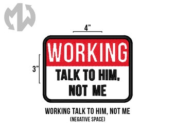 "TALK TO HIM 3"" x 4"" Service Dog Patch"