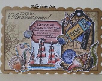 Nautical sailor birthday card boat shell