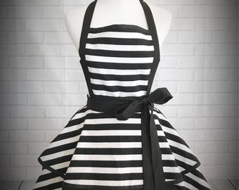 Black and white striped retro pinup apron // Makes a great gift for bridal shower, hostess or just because! / kate spade inspired