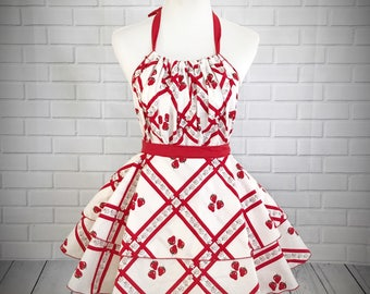 Retro pinup ruffled apron / white cotton with sweet strawberry pattern / great gift for bridal shower or hostess gift