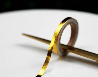 Skinny Washi Tape, Thin Washi Tape, Gold Thin Washi Tape, Gold Skinny Washi Tape, Gold Slim Washi Tape, Gold Bullet Journal Tape