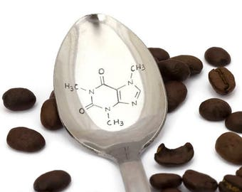 Engraved Caffeine Molecule Coffee Spoon