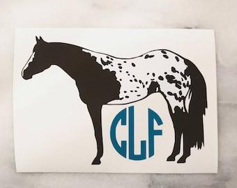 Appaloosa Horse Monogram Vinyl Car Decal - equestrian sticker