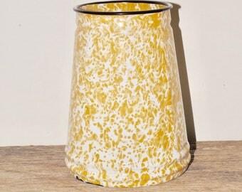 """Yellow enamel utensil holder,enamelware,enamel kitchen decor,marble yellow,kitchen storage,farmhouse,planter,flower vase,6"""" high,"""
