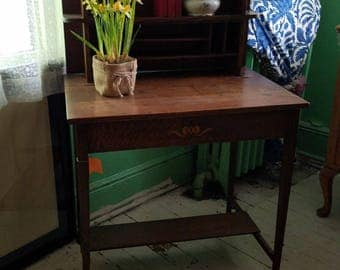 English Arts & Crafts Two Piece Desk with Balcony and Shelf Circa 1880
