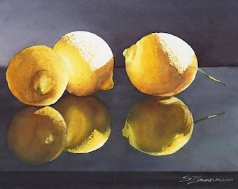 lemons, fruit, still life, watercolor print