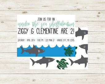 SEA | Under the Sea Shellabration Birthday Invitation | Under the Sea Birthday Invitation | Sea Animals Birthday Invitation | Ocean Animals