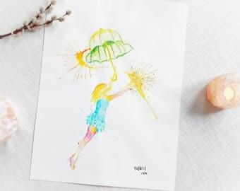 Originale Malerei von Buttafly ( Vanessa Brünsing ) - Dreamcatcher - 2014 - 36 x 48 cm - Kunstwerk