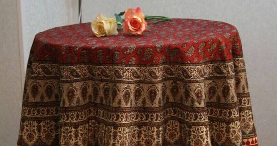 "Red 60"" inches Traditional round tablecloth with natural colours and tassels"