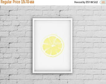 SALE Lemon Print, Citrus Fruit Print, Lemon Art, Contemporary Art, Kitchen Art Decor, Yellow Artwork Prints, Food Wall Art, Lemon Decor Prin
