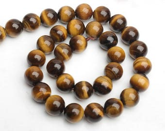 Yellow Tiger eye Beads AAA+ quality Smooth Round Tigereye Genuine Natural Stone bead - 4mm 6mm 8mm 10mm 12mm 14mm 16mm 18mm 20mm - DC070