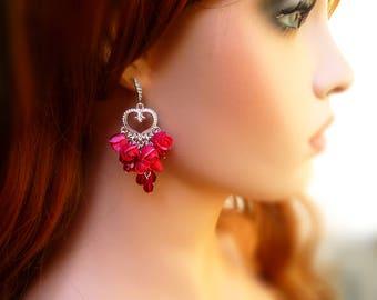 Red rose earrings Unique earrings Ruby earrings Сhandelier earrings Rose Bud earrings Ruby Red Crystal Earrings Polymer Clay earrings