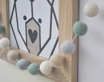 Felt Ball Garland - Felt Bunting - Pom Pom Garland - Nursery Decor- Wall Hanging