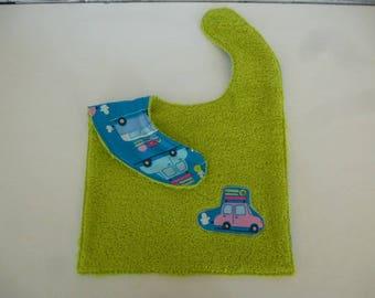 bib has snap cars double green sponge
