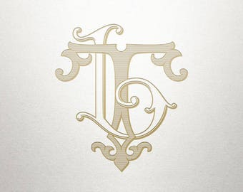 Vintage Digital Monogram - LT TL - Digital Monogram - Custom