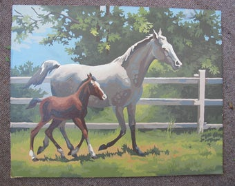 Horse and foal paint by number painting (20 x 16 inches) / large horse painting / unframed farm painting