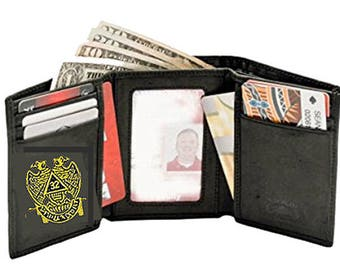 SCOTTISH RITE WALLET - Tri Fold - High Quality Leather - Embroidered Logo