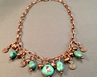Copper, Turquoise & Pearl Necklace