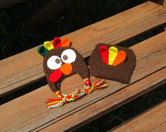 Crochet Turkey Photo Prop/Turkey Outfit/Newborn Photo Prop/Crochet Turkey Hat/Thanksgiving Prop/Fall Photo Prop/Halloween Costume/Crochet