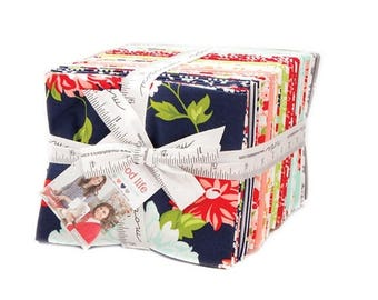 Sale The Good Life Fat Quarter Bundle by Bonnie and Camille from Moda Fabrics, 40 Fat Quarters, Complete Collection, Navy, Red Floral