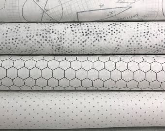White Background Fabric Bundle from Moda, Bundle of 6 White Fabrics, Choose the Cut, White Stash Bundle, low volume
