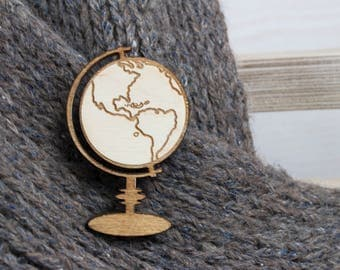 Wooden brooch - Globe brooch - Rustic brooch - Rustic jewelry - Engraved brooch - Wooden globe - Geography brooch - Teacher brooch