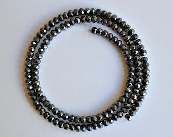 Natural Hematite Faceted Rondelle/ Wheel 4mm Loose Beads, Natural Hematite Beads, Semi precious Gemstone Beads, Wholesale Beads