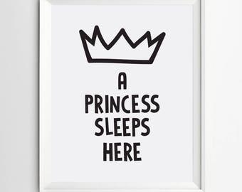A Princess Sleeps Here Printable Princess Theme Princess Crown Girl minimalist nursery Quote Print Princess Nursery Wall Art Princess Decor