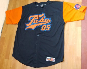 FUBU jersey, vintage t-shirt of 90s hip-hop clothing, buttoned sewn, old school 1990s hip hop, OG, gangsta rap, size XL