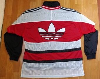 ADIDAS jersey, vintage t-shirt of 90s hip-hop clothing, 1990s hip hop, OG, old school gangsta rap, run dmc basketball shirt, size L Large D8