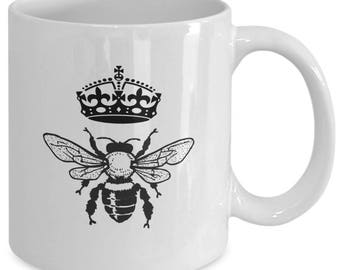 QUEEN BEE - Coffee Mug - Gifts for Her - Diva Gift - 11 oz white coffee tea cup