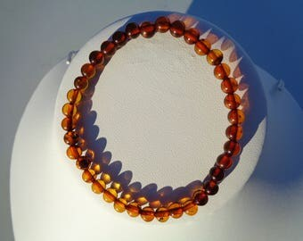 100% NATURAL High Quality BALTIC AMBER Round Beads Bracelet For Adults Cognac 2.6 grams